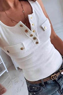 Casual Pocket Sleeveless T-Shirt