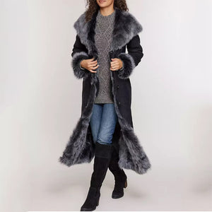 Women's fashion long fur coat with large fur collar coat DWQ40