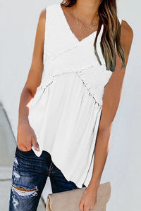 Casual Cross V-Neck Sleeveless T-Shirt
