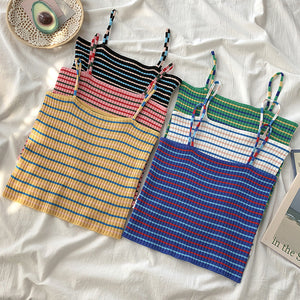 Women's Rainbow Stripe Colorblock Knit Tank Top