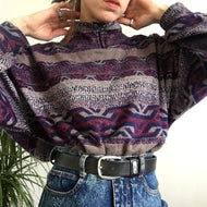 Women's fashion pattern printed long-sleeved sweater RS001