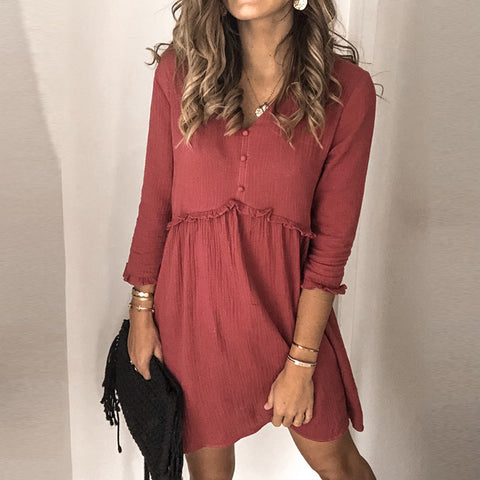 Womens Casual V Neck Solid Colour Dress BJ31
