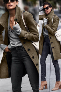 Fashion Pure Colour   Long Sleeve Coats
