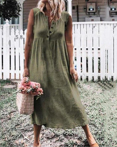 Solid Color Cotton And Linen Lapel Slimming Dress