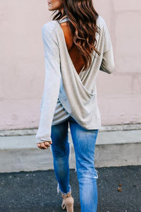 V Neck  Asymmetric Hem  Back Hole  Plain T-Shirts