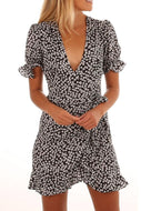 Deep V-Neck  Floral Printed  Short Sleeve Casual Dresses