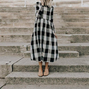 Round Neck Long Sleeve Plaids Printed Maxi Dress