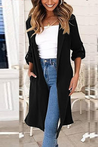 Band Collar  Plain Trench Coat