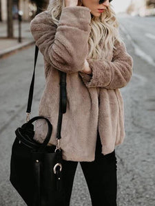 Fashion Lapel Long Sleeve Pocket Faux Fur Coats
