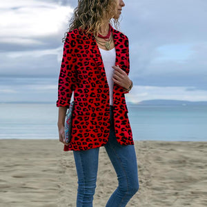 Stylish Lapel Leopard Print Long-Sleeve Pocket Coat