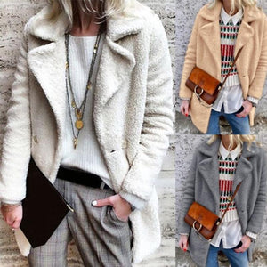 Lapel Long Sleeve Plain Fashion Polar Fleece Coats