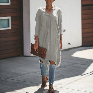 Casual Long Sleeve Loose Pure Colour Casual Dresses