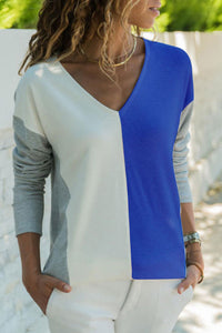 V-Neck  Color Block T-Shirts