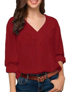 V Neck  Loose Fitting Patchwork  Plain Blouses
