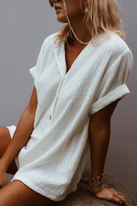 Button Down Collar  Single Breasted  Plain  Short Sleeve  Playsuits