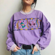 Casual round collar long sleeve printed patchwork sweatshirt