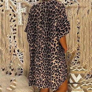 Sexy Leopard Print Long Sleeve Irregular T-Shirt