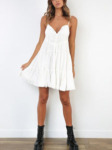 2019 Summer New Lace-Up Printed V-Neck Sexy Strap Dress