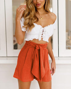 High Waist Tied Bandwidth Loose Leg Shorts