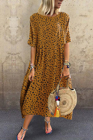Round Neck Leopard_Print Casual Dress
