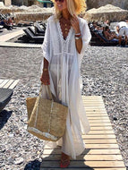 V-Neck See Through Vacation Maxi Casual Vacation Maxi Dress