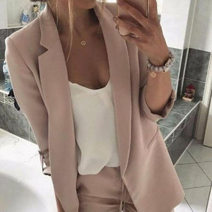 Commuting Suit Collar Patch Pocket Pure Colour Blazer