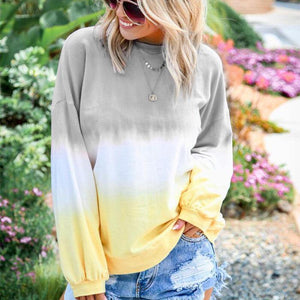 Casual Round Neck Gradient Print T-Shirt