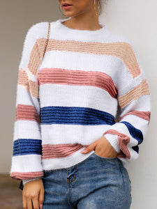 Casual Round Neck Long Sleeve Contrast Color Sweater