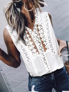 Fashion V-Neck Lace Stitching Sleeveless Vests