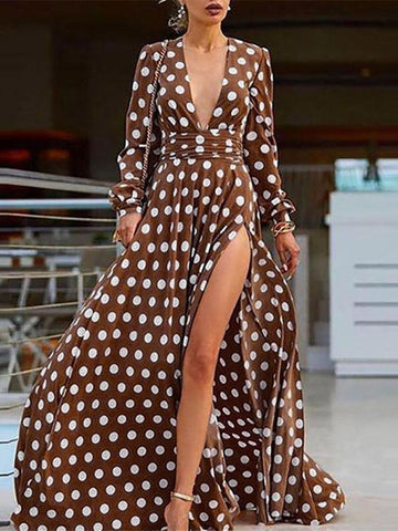 Sheinnow Cute Polka Dot V Neck Long Sleeve  Dress