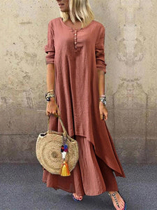 Casual Round Neck Loose Fake Two Large Swing Linen Dress