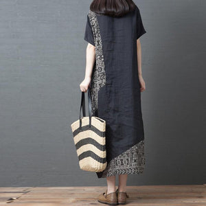 Casual Cotton And Linen Short-Sleeved Round Neck Print Dress