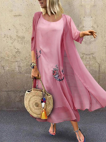 Vintage Round Neck Embroidery Three-Quarter Sleeve Dress