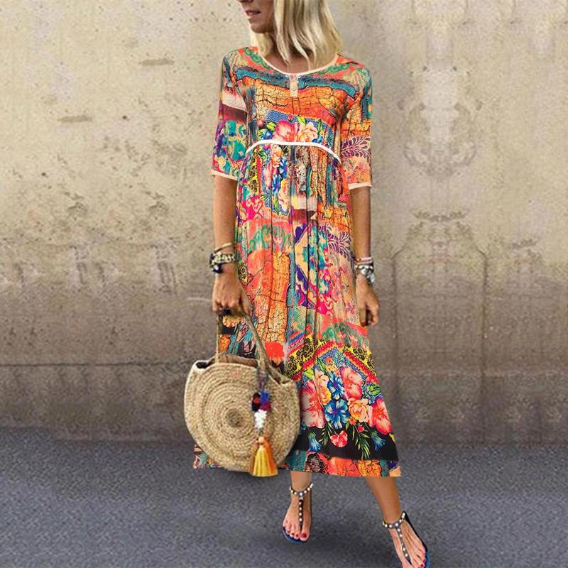 Chinese Style Printed Round Neck Long Sleeves Dress