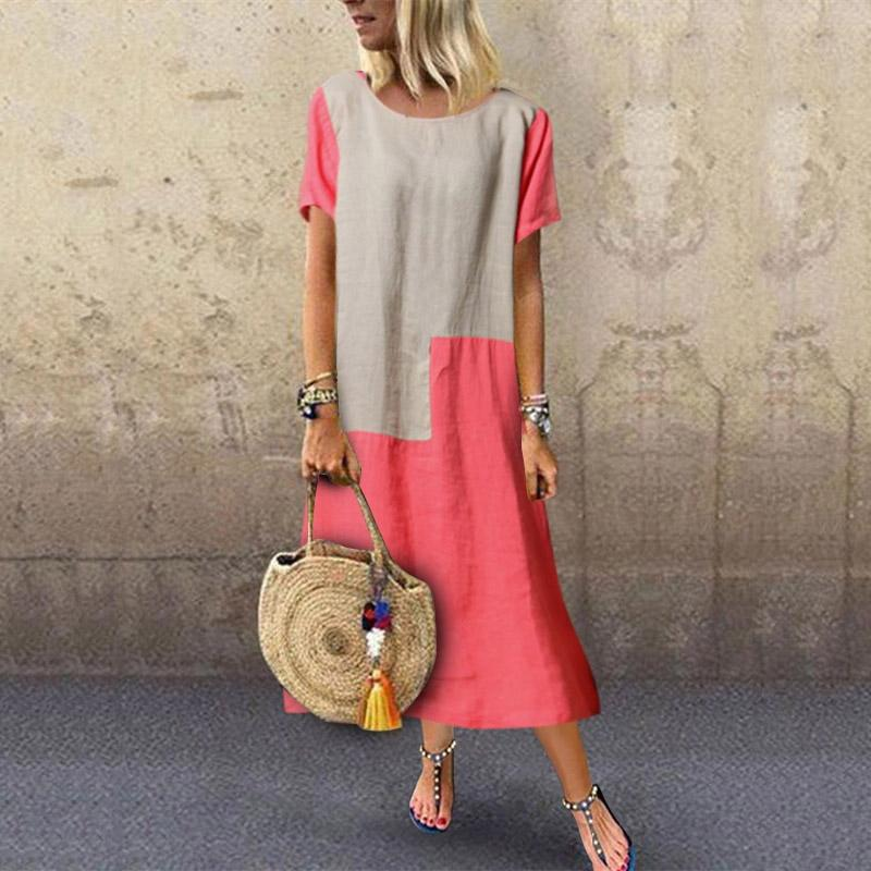 Fashion Color Block Round Neck Short Sleeve Dress
