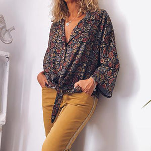Casual Turndown Collar Long Sleeve Printed Colour Loose Blouse