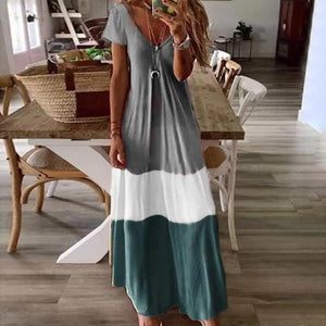 Bohemia V Neck Short Sleeve Dress