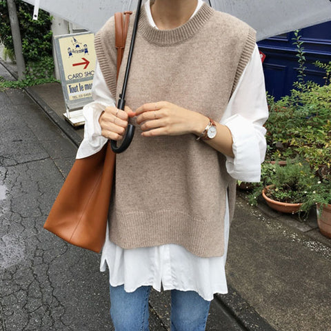 Fashion Casual Plain Round Neck Knit Vest