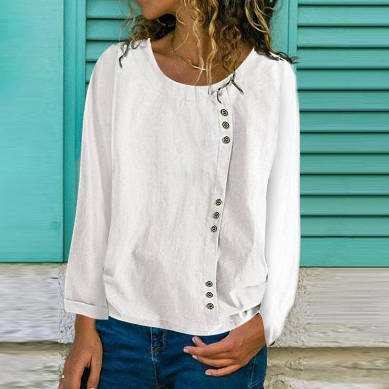 Casual Round Neck Long Sleeve Solid Color Blouse