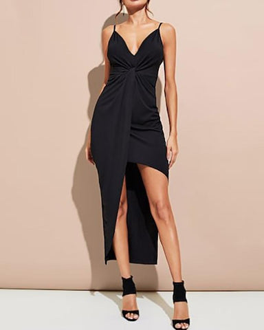 Sexy Sling V-Neck Split Solid Color Bodycon Dresses
