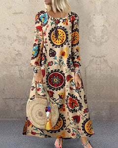 Casual Round Neck Long Sleeve Printed Colour Maxi Dresses