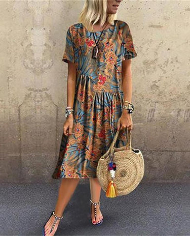 Casual Round Neck Short Sleeve Printed Colour Maxi Dresses