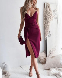 Sexy Sling Pure Colour Slit Bodycon Dresses