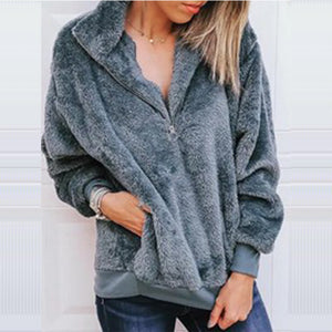 New Solid Color Zipper Pullover Plush Sweater