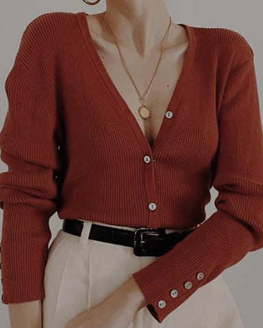 Sexy V-Neck Long Sleeve Solid Color Sweaters