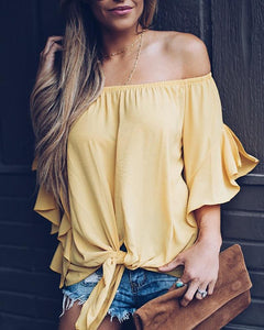 Sexy Off-The-Shoulder Long-Sleeved Collar T-Shirts