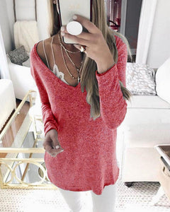 Casual V-Neck Long Sleeve Solid Color Sweaters