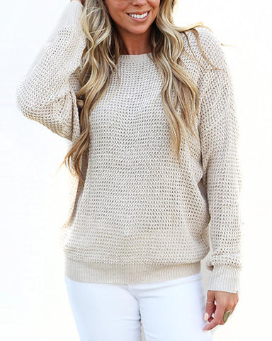 Casual Loose Chest Openwork Cross Collar Sweaters