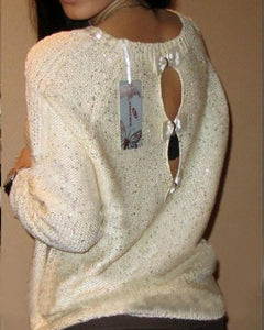 Casual Sequins Back Three Bows Backless Loose Sweaters