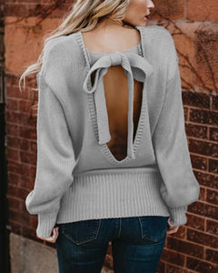 Casual Backless Cross Knotted Laces Sweaters